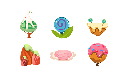 Illustration pour Sweet candy land design elements, cute cartoon fantasy plants for mobile game interface vector Illustration isolated on a white background. - image libre de droit