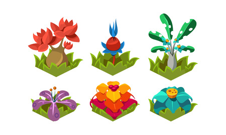 Illustration pour Collection of fantasy plants. Tropical trees and flowers. Nature landscape elements for computer or mobile game. Cartoon style icons. Colorful flat vector illustrations isolated on white background. - image libre de droit