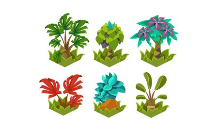 Illustration pour Flat vector set of cartoon fabulous plants. Nature landscape elements. Tropical trees. Design for fantasy mobile or computer game - image libre de droit