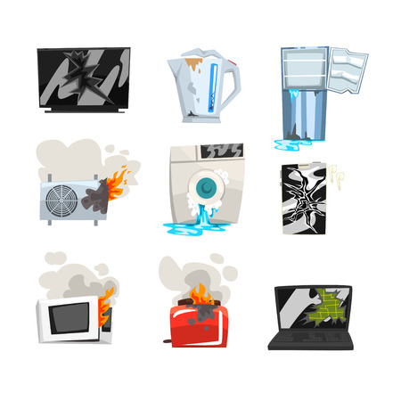 Illustration pour Damaged home appliance set, broken TV, kettle, refrigerator, air conditioner, washing machine, microwave oven, toaster, laptop, smartphone cartoon vector Illustrations isolated on a white background. - image libre de droit