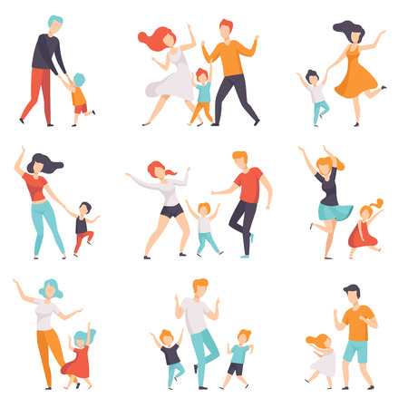 Parents dancing with their children set, kids having good time with their dads and moms vector Illustrations isolated on a white background.