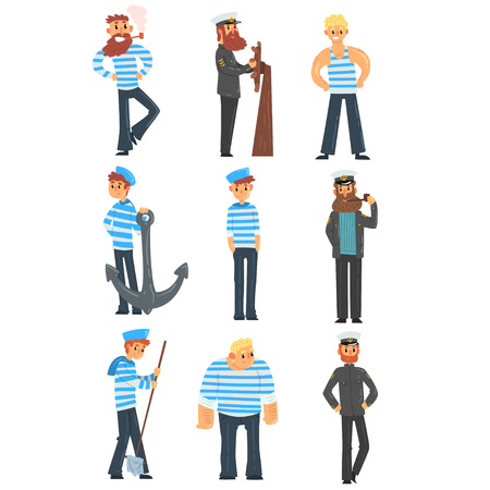Sailors and captains doing their job, seamen characters in uniform vector Illustration isolated on a white background.