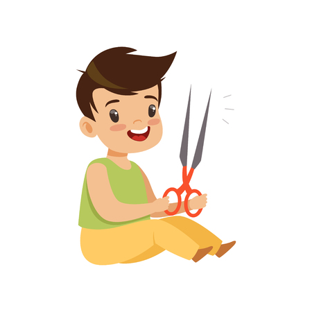 Illustration pour Boy playing with scissors, kid in dangerous situation vector Illustration isolated on a white background. - image libre de droit