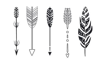 Ilustración de Tribal arrows set, black decorative arrows and feathers vector Illustrations isolated on a white background. - Imagen libre de derechos