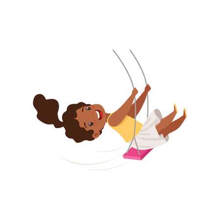 Illustration for Lovely African American girl swinging on a rope swing, little kid having fun on a swing vector Illustration isolated on a white background. - Royalty Free Image