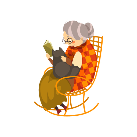 Illustration for Cute granny sitting in a cozy rocking chair and reading a book, black cat lying on her knees, lonely old lady and her animal pet vector Illustration isolated on a white background. - Royalty Free Image
