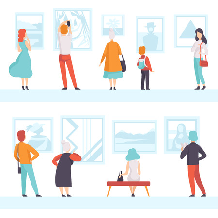 Illustration pour People of different ages looking at the pictures hanging on the wall, exhibition visitors viewing museum exhibits at art gallery, back view vector Illustration on a white background - image libre de droit