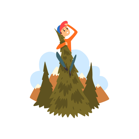 Illustration pour Boy got lost in the forest, child sitting on a pine and looking into the distance cartoon vector Illustration - image libre de droit