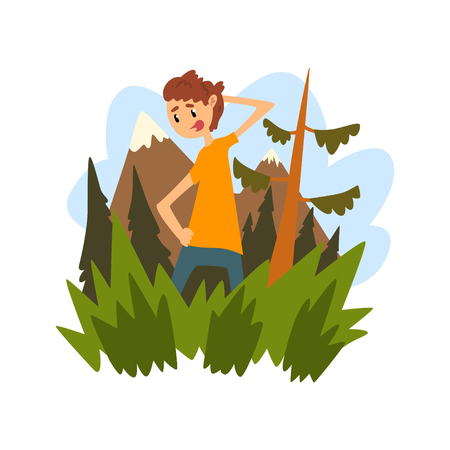 Illustration pour Young man got lost in the forest, guy scratching his head thoughtfully against the backdrop of beautiful nature cartoon vector Illustration - image libre de droit