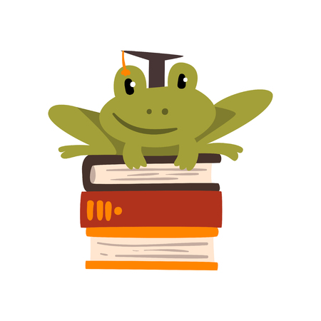 Frog in graduation cap sitting on a pile of books, cute amphibian animal cartoon character, school education and knowledge concept vector Illustration isolated on a white background.