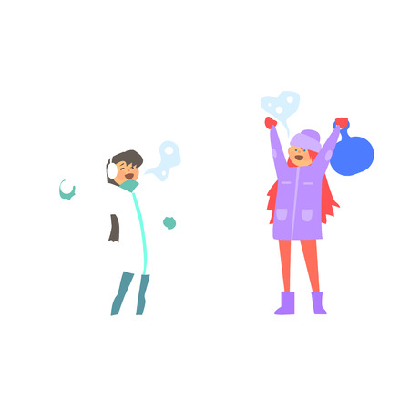 Illustration for Funny Girls Playing Snowballs. Vector Illustration Flat style - Royalty Free Image