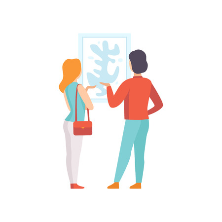 Illustration pour Man and woman looking at the painting hanging on the wall, exhibition visitor viewing museum exhibit at art gallery, back view vector Illustration on a white background - image libre de droit