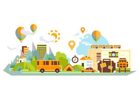 Illustration pour Travel vacation flat design set. Vector concept illustration. Travel banner. - image libre de droit
