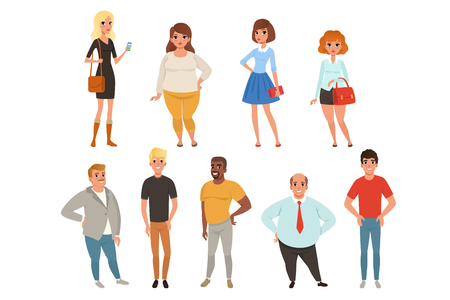 Illustration pour Cartoon collection of young and adult people in different poses. Men and women characters wearing casual clothes. Full-length portraits in flat style. Colorful vector illustration isolated on white. - image libre de droit