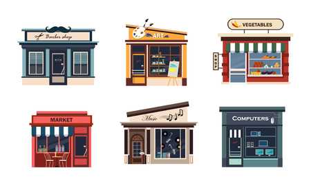 Illustration pour Facades of various shops set, barbery, art, vegetables, market, music, computers vector Illustration on a white background - image libre de droit