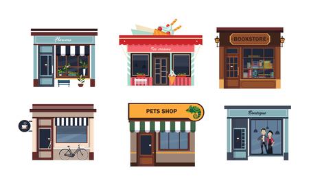 Ilustración de Facades of various shops set, flower, ice cream, bookstore, cafe, pets shop, boutique vector Illustration on a white background - Imagen libre de derechos