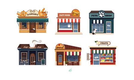 Illustration pour Facades of various shops set, bakery, fast food, pets shop, pizza, fruits vector Illustration on a white background - image libre de droit