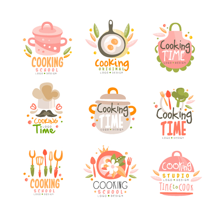 Illustration pour Cooking time studio design, kitchen emblem can be used for culinary class, course, school hand drawn vector Illustration on a white background - image libre de droit