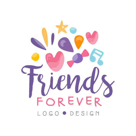 Illustration for Friends forever design, Happy Friendship Day colorful template for banner, poster, greeting card, t-shirt vector Illustration - Royalty Free Image
