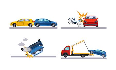 Ilustración de Auto accidents set, car crash flat vector Illustration isolated on a white background. - Imagen libre de derechos