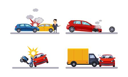 Illustration pour Car accidents and crash set flat vector Illustration isolated on a white background. - image libre de droit