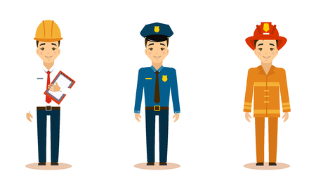 Men of different professions set, engineer, policeman, fireman, working people vector Illustration isolated on a white background.