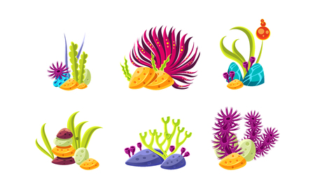 Illustration pour Cartoon compositions with fantasy seaweed and stones. Marine plants. Sea and ocean life theme. Objects for aquarium decoration. Colorful illustrations isolated on white background. Flat vector set. - image libre de droit