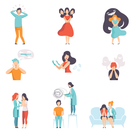 Illustration pour People suffering from mental disorders set, psychotherapists treating patients on behavioral or mental health problems vector Illustration isolated on a white background. - image libre de droit