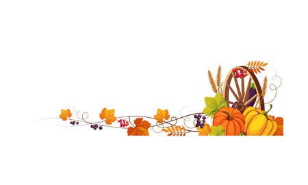 Ilustración de Thanksgiving banner with cornucopia and space for text, autumn vegetables, leaves and wooden wheel vector Illustration on a white background. - Imagen libre de derechos