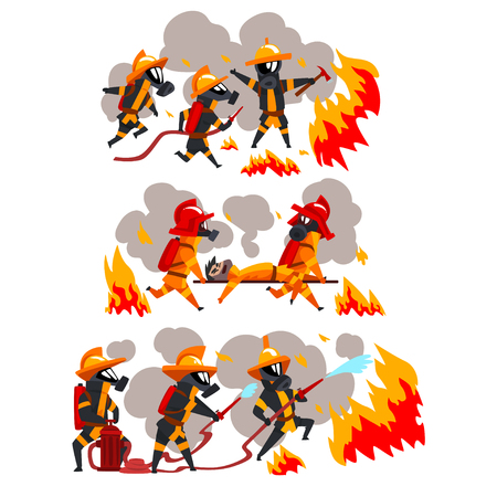 Illustration pour Firefighters extinguishing fire and helping people, firemen characters in uniform and protective masks at work vector Illustration on a white background - image libre de droit