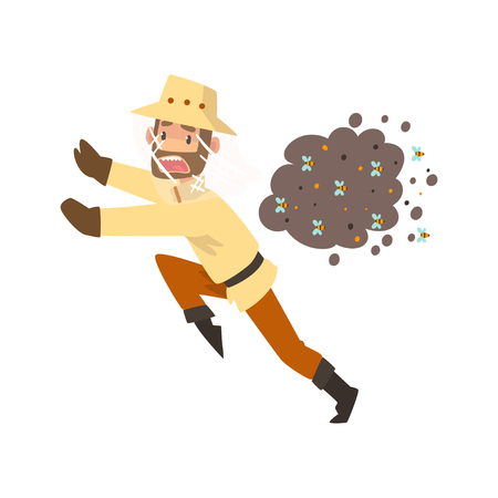 Beekeeper man running away from a swarm of bees, apiculture and beekeeping concept vector Illustration isolated on a white background.