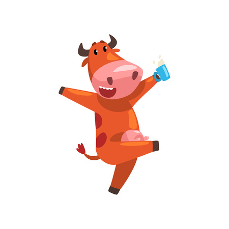 Ilustración de Happy brown cow with cup milk, farm animal cartoon character, design element can be used for advertising, milk package, baby food vector Illustration isolated on a white background. - Imagen libre de derechos