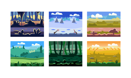 Illustration pour Collection of 6 different seamless backgrounds for computer and mobile game. Cartoon landscapes with green hills, wild forests and cloudy skies. Natural scenery. Colorful flat vector illustrations. - image libre de droit
