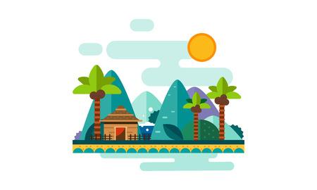 Illustration pour Beautiful tropical landscape, sand beach with palms, bungalow, mountains and sun vector Illustration, web design - image libre de droit