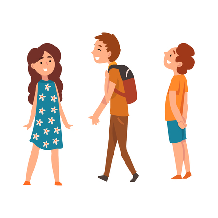 Illustration for Happy school children, two boys and girl, vector Illustration isolated on a white background. - Royalty Free Image