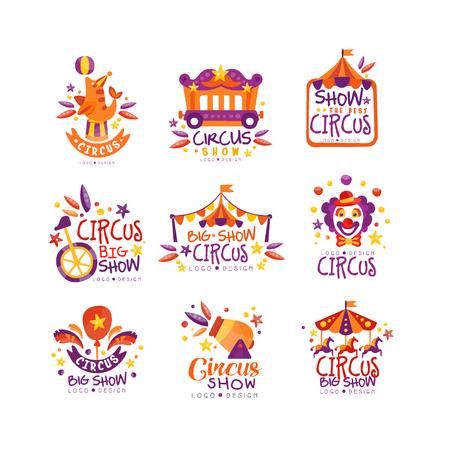 Illustration pour Big circus show logo design set, carnival, festive labels, badges, hand drawn design elements an be used for flyear, poster, banner, invitation vector Illustration - image libre de droit