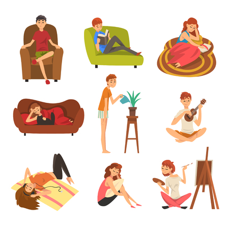 Illustration pour People Spending Weekend at Home and Relaxing Set, Man and Woman Reading Books, Lying, Dreaming, Resting at Home Vector Illustration - image libre de droit