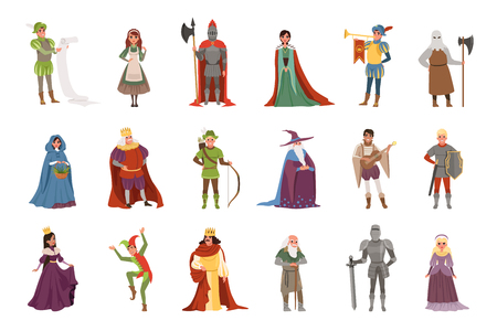Illustration for Medieval people characters set, European middle ages historic period elements vector Illustrations on a white background - Royalty Free Image