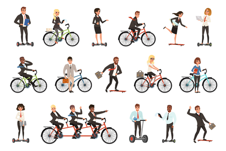 Illustration pour Flat vector set of office workers on different vehicles bicycle, electric hoverboard, skateboard. Business people. Men and women in casual clothes - image libre de droit