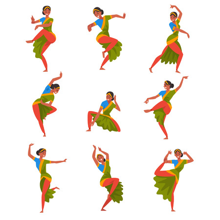 Illustration pour Young woman Performing Folk Dance Set, Smiling Indian Dancer Character Dancing in Traditional Clothes Vector Illustration - image libre de droit