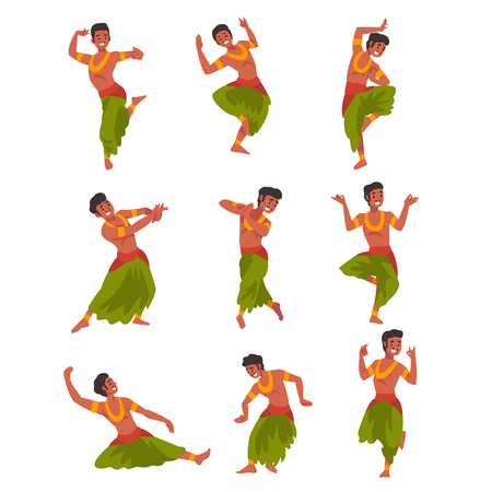Illustration pour Indian Dancer Character in Traditional Sari Set, Beautiful Young Woman Performing Dance Vector Illustration - image libre de droit