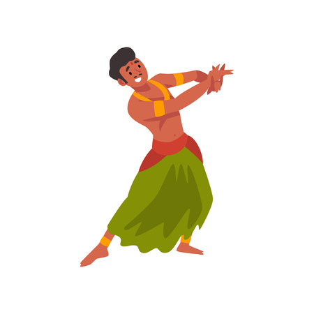 Illustration pour Smiling Young Indian Man Performing Folk Dance in Traditional Clothes Vector Illustration - image libre de droit