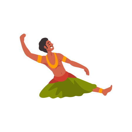 Illustration pour Male Indian Dancer Character in Traditional Clothes, Young Smiling Man Performing Folk Dance Vector Illustration - image libre de droit
