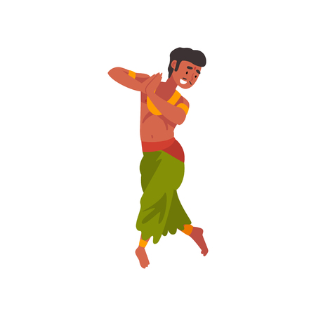 Illustration pour Indian Dancer Character in Traditional Clothes, Young Man Performing Folk Dance Vector Illustration - image libre de droit