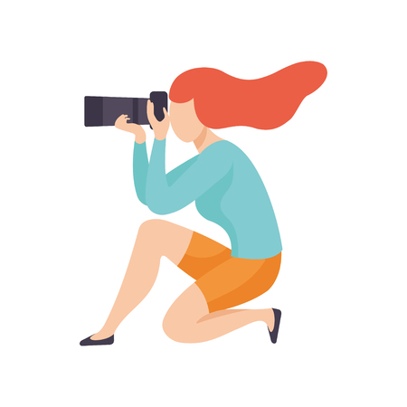 Illustration pour Girl Squatting Taking Photo with Sir Camera, Female Professional Photographer Character Vector Illustration on White Background. - image libre de droit