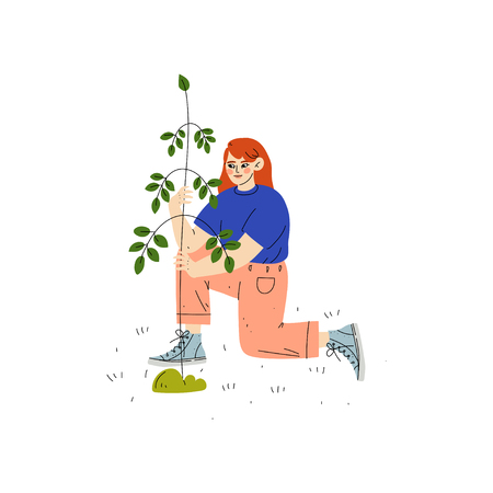 Illustration pour Girl Planting Tree, Boy Working in Garden or Farm Vector Illustration on White Background. - image libre de droit