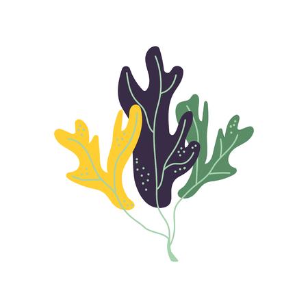 Illustration pour Underwater Seaweed, Marine Aglae Plant Vector Illustration on White Background. - image libre de droit