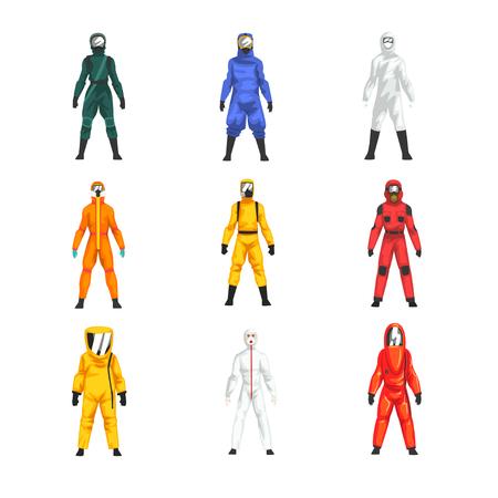 Illustration pour Different Workers in Protective Suits and Helmets Set, Professional Protective Uniform Vector Illustration on White Background. - image libre de droit