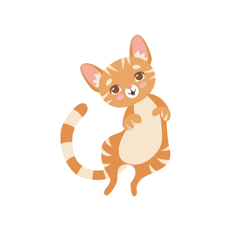 Ilustración de Cute Striped Funny Red Cat, Kitten Animal Pet Character Vector Illustration on White Background. - Imagen libre de derechos