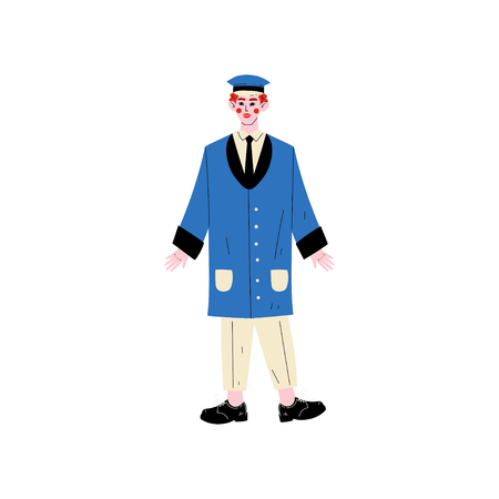 Illustration pour Male Doorman Hotel Staff Character Meeting Guests Vector Illustration on White Background. - image libre de droit